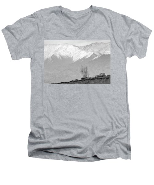 Stupa And Trees Men's V-Neck T-Shirt by Hitendra SINKAR