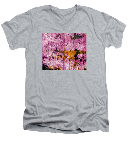 Men's V-Neck T-Shirt featuring the mixed media Submit A Dance   by Fania Simon