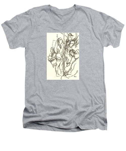 Subway Composition, Nyc Men's V-Neck T-Shirt