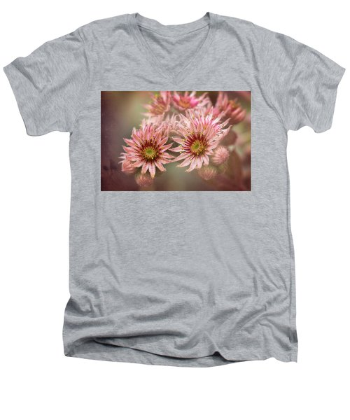 Succulent Flowers - 365-100 Men's V-Neck T-Shirt by Inge Riis McDonald