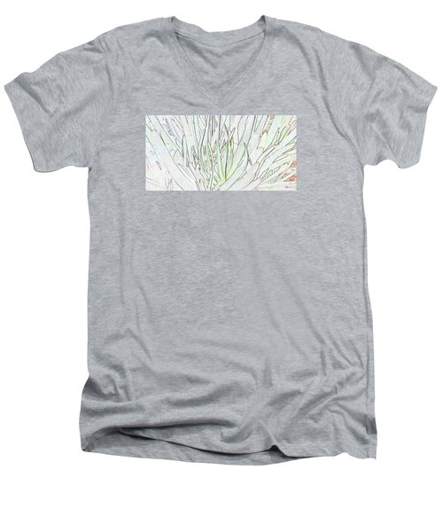 Succulent Leaves In High Key Men's V-Neck T-Shirt by Nareeta Martin