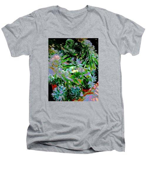 Succulent Pot Men's V-Neck T-Shirt by M Diane Bonaparte