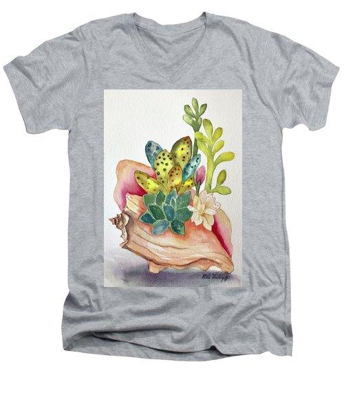 Succulents In Shell Men's V-Neck T-Shirt