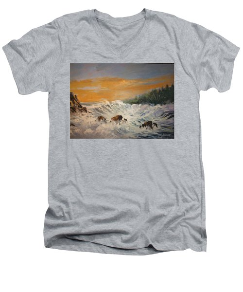 Sudden Turbulence At Suset Men's V-Neck T-Shirt
