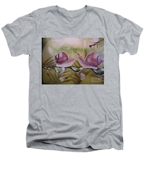 Sue And Sammy Snail Men's V-Neck T-Shirt by Dianna Lewis