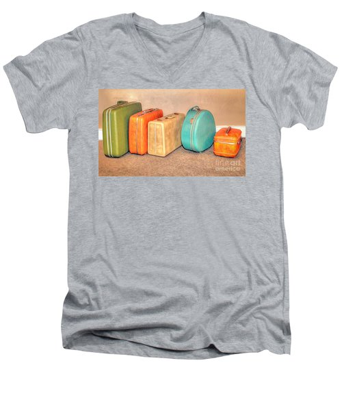 Suitcases Men's V-Neck T-Shirt by Marion Johnson
