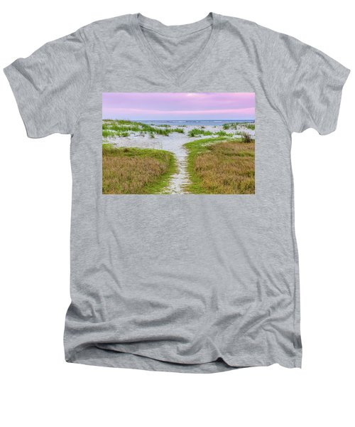 Men's V-Neck T-Shirt featuring the photograph Sullivan's Island Natural Beauty by Donnie Whitaker