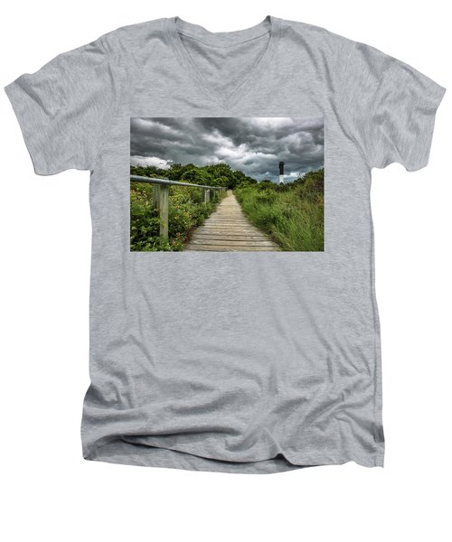 Men's V-Neck T-Shirt featuring the photograph Sullivan's Island Summer Storm Clouds by Donnie Whitaker