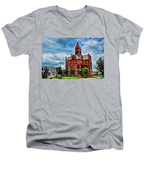 Sulphur Springs Courthouse Men's V-Neck T-Shirt by Diana Mary Sharpton
