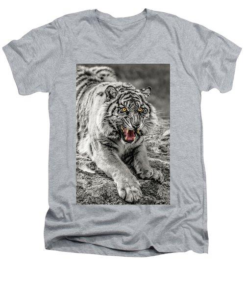 Sumatran Tiger Bw W With Selective Color Men's V-Neck T-Shirt