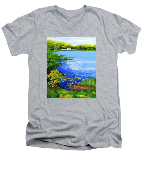 Summer At The Lake Men's V-Neck T-Shirt by Anne Marie Brown
