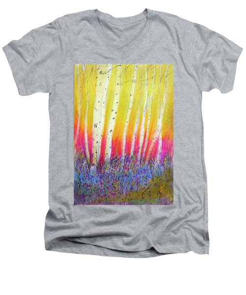 Summer Birch  Men's V-Neck T-Shirt by Linde Townsend