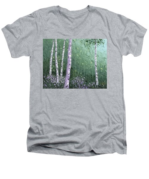 Summer Birch Trees Men's V-Neck T-Shirt