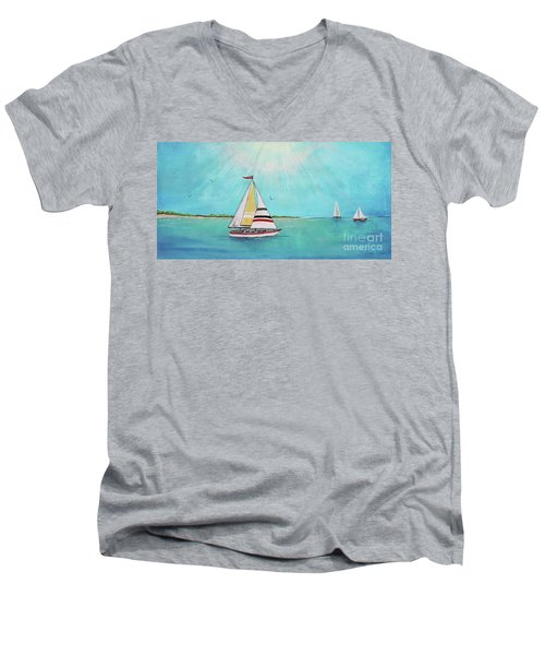 Men's V-Neck T-Shirt featuring the painting Summer Breeze-b by Jean Plout
