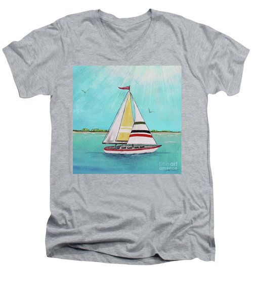 Men's V-Neck T-Shirt featuring the painting Summer Breeze-d by Jean Plout