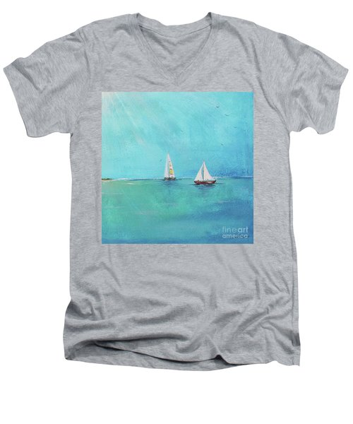 Men's V-Neck T-Shirt featuring the painting Summer Breeze-e by Jean Plout