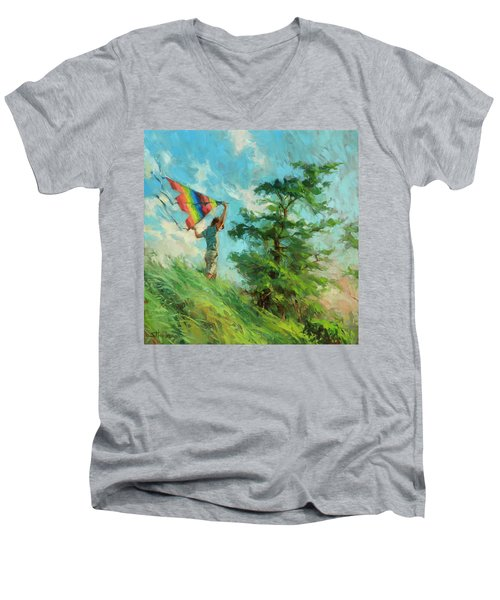 Men's V-Neck T-Shirt featuring the painting Summer Breeze by Steve Henderson