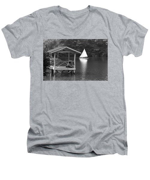 Summer Camp Black And White 1 Men's V-Neck T-Shirt by Michael Fryd