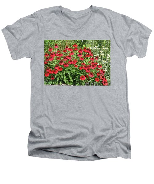 Men's V-Neck T-Shirt featuring the photograph Summer Color by Denise Romano