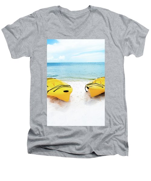 Men's V-Neck T-Shirt featuring the photograph Summer Colors On The Beach by Shelby Young