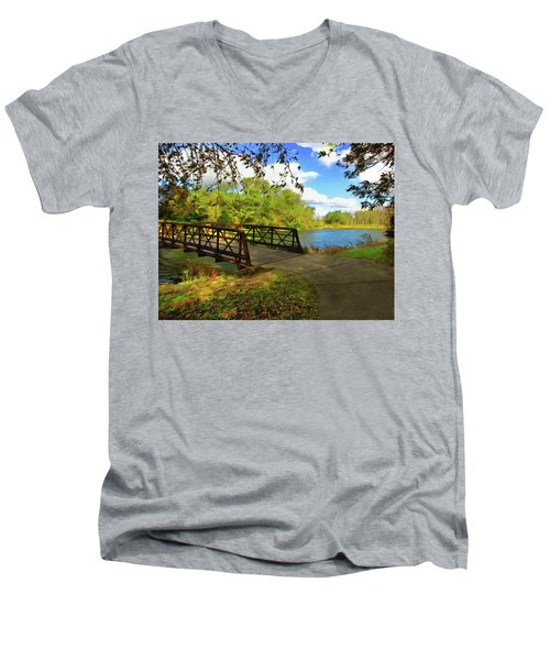 Summer Crossing Men's V-Neck T-Shirt by Cedric Hampton