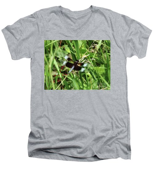 Men's V-Neck T-Shirt featuring the photograph  Summer Dragons by J L Zarek