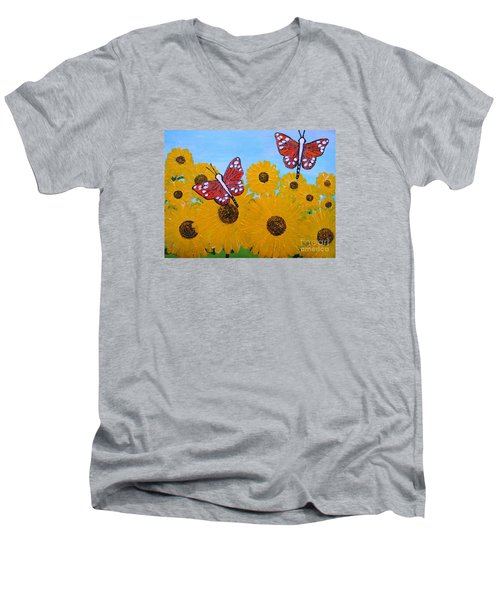 Men's V-Neck T-Shirt featuring the painting Summer Dreams by Karen Jane Jones