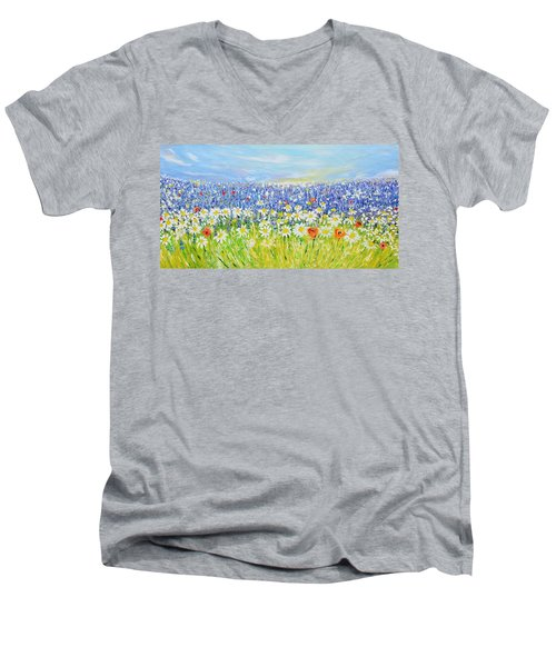 Men's V-Neck T-Shirt featuring the painting Summer Field by Evelina Popilian