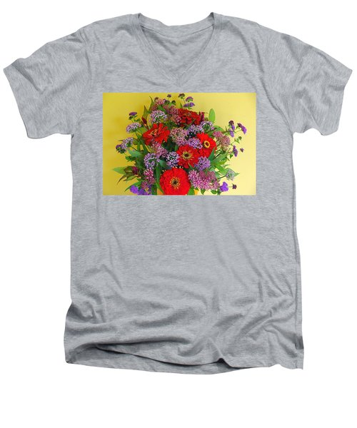 Men's V-Neck T-Shirt featuring the photograph Summer Flower Bouquet by Byron Varvarigos