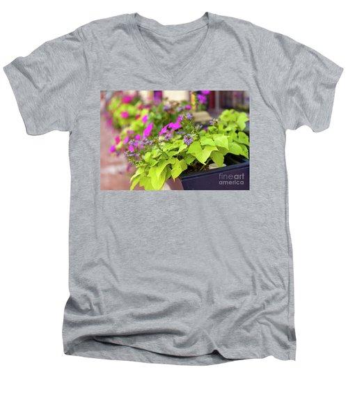 Summer Flowers In Window Box Men's V-Neck T-Shirt