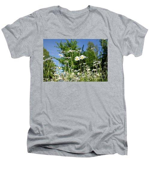 Men's V-Neck T-Shirt featuring the photograph Summer Flowers by Kennerth and Birgitta Kullman