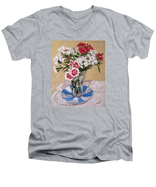 Men's V-Neck T-Shirt featuring the painting Summer Flowers by Laura Aceto