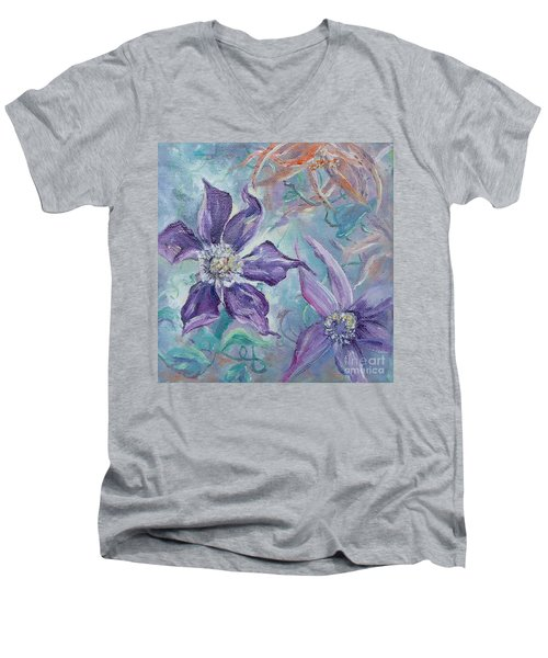 Men's V-Neck T-Shirt featuring the painting Summer Flowers No. 1 by Ryn Shell