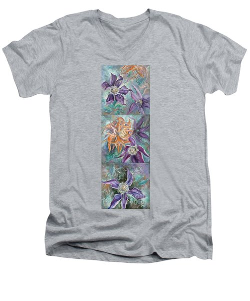 Men's V-Neck T-Shirt featuring the painting Summer Flowers Tall by Ryn Shell