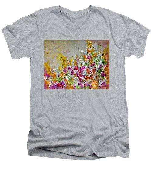 Summer Fragrance Abstract Painting Men's V-Neck T-Shirt