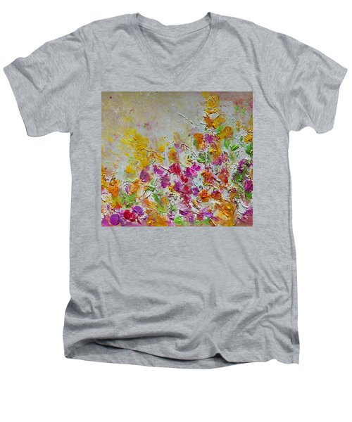 Summer Fragrance Abstract Painting Men's V-Neck T-Shirt