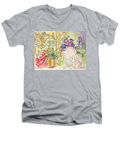 Summer Garden Men's V-Neck T-Shirt by Barbara Anna Knauf