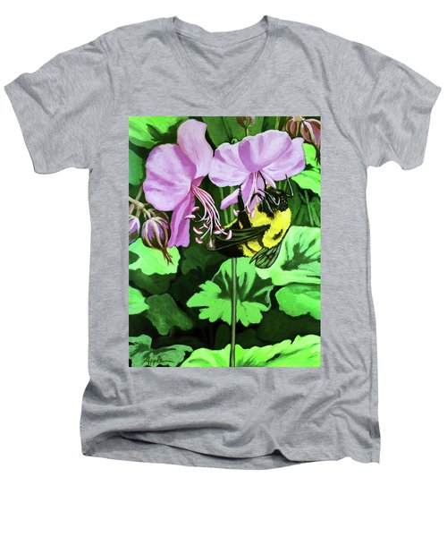 Summer Garden Bumblebee And Flowers Nature Painting Men's V-Neck T-Shirt by Linda Apple
