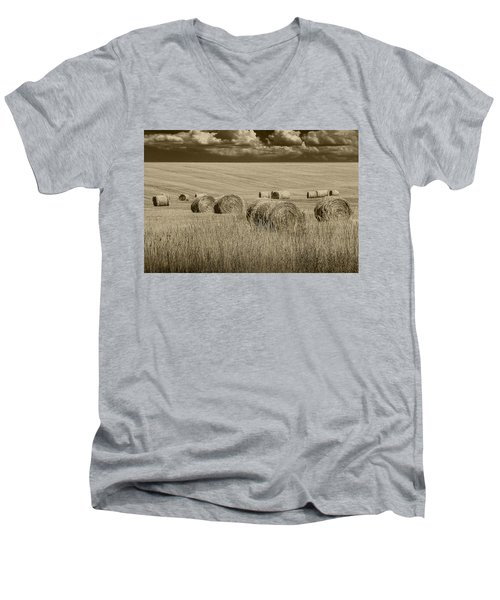Summer Harvest Field With Hay Bales In Sepia Men's V-Neck T-Shirt