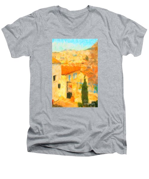 Summer In Athens Men's V-Neck T-Shirt by Chris Armytage