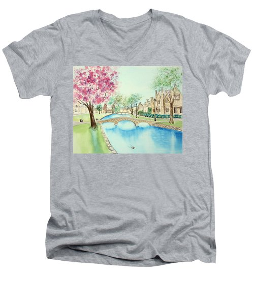 Men's V-Neck T-Shirt featuring the painting Summer In Bourton by Elizabeth Lock