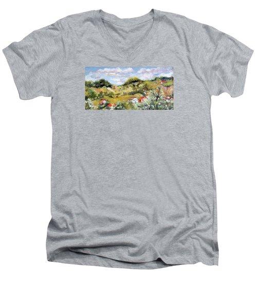 Summer Landscape Men's V-Neck T-Shirt by Vali Irina Ciobanu