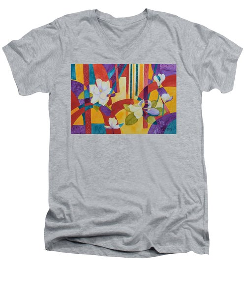 Summer Magnolias Men's V-Neck T-Shirt by Nancy Jolley