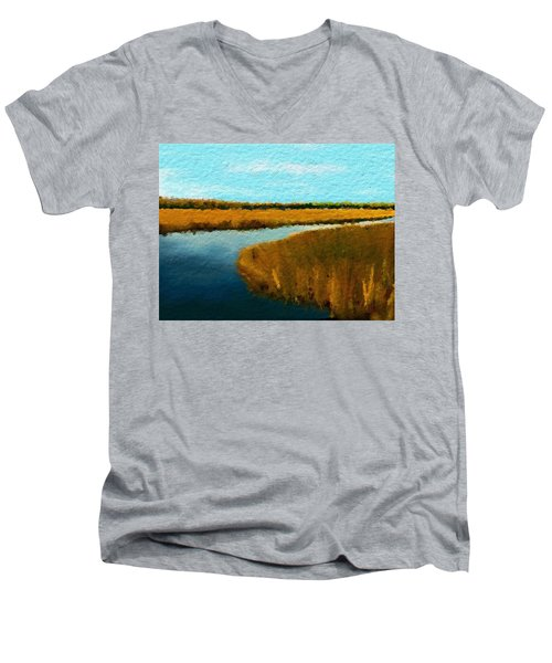 Men's V-Neck T-Shirt featuring the digital art Summer Marsh South Carolina Lowcountry by Anthony Fishburne