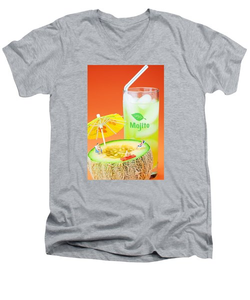 Men's V-Neck T-Shirt featuring the photograph Summer Memory Little People On Food by Paul Ge