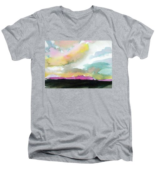 Men's V-Neck T-Shirt featuring the painting Summer Monsoon by Ed Heaton