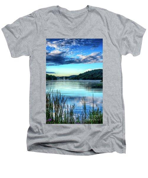 Summer Morning On The Lake Men's V-Neck T-Shirt by Thomas R Fletcher
