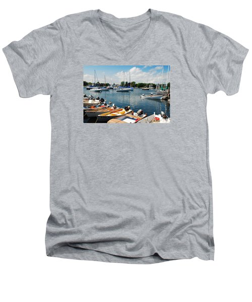 Summer On The Bay Men's V-Neck T-Shirt by James Kirkikis