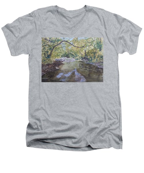 Summer On The South Tow River Men's V-Neck T-Shirt by Joel Deutsch