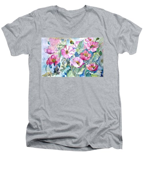 Men's V-Neck T-Shirt featuring the painting Summer Poppies by Iya Carson